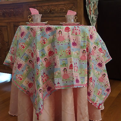 Fairy Tales PRINCESS/FROG Handmade Tablecloth w/Napkins X Girls Tea Parties, NEW