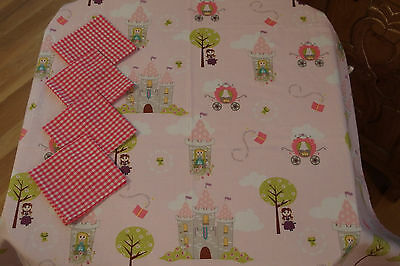 "Square Fabric Tablecloth w/""Princess & Castles"" design x Girls Tea Parties, NEW"