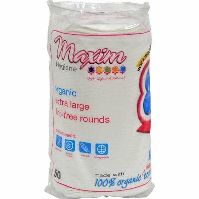 Maxim Hygiene Products Organic Cotton Rounds, Extra Large, 50 Count