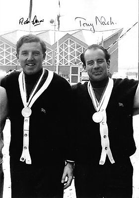 robin dixon tony nash on podium with gold medals bobsleigh signed 12x8 photo