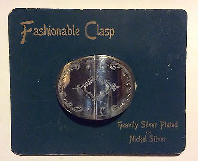 HEAVY SILVER PLATED 2pc FASHIONABLE CLASP (Belt Buckle) on original card c1910s