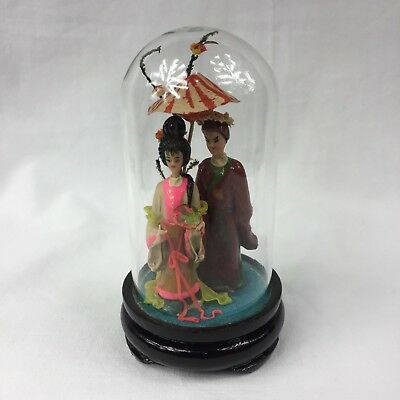 Japanese Couple Woman Man in Glass Dome Ornament Statue Doll Figurine No Box EUC