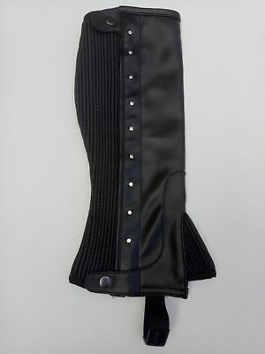 Horse Riding Ladies Mens Synthetic Leather Half Chaps /gaiter With Crystals