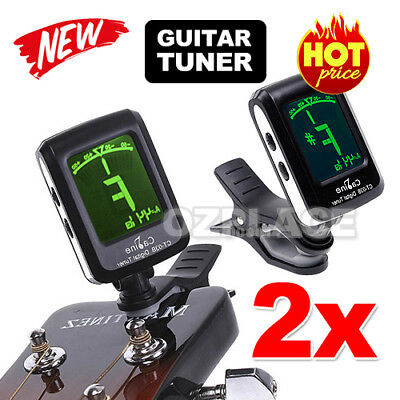 2X LCD Clip-on Electronic Digital Guitar Tuner for Chromatic Bass Violin Ukulele