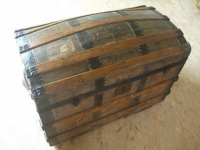 Large Wood Antique Victorian Vintage Dome Top Steamer Travel Trunk Pirate Chest