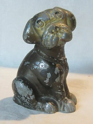 Vintage cast metal sad face dog bank