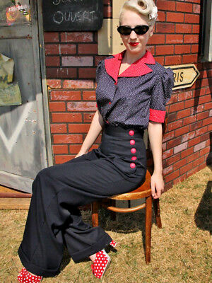 NWOT Heyday Vintage 1940's Style Trousers 10 Navy  Red Buttons Inside leg 28-29