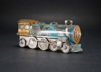 """Antique Vintage 1950's Railroad 5"""" Hand Painted Glass Train 1028 Candy Container"""