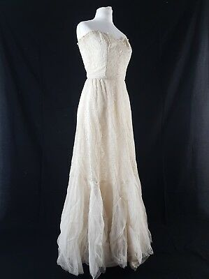VINTAGE 50s Dress True BallGown Prom Hollywood 30s 40s Ivory Net Wedding UK 6-8