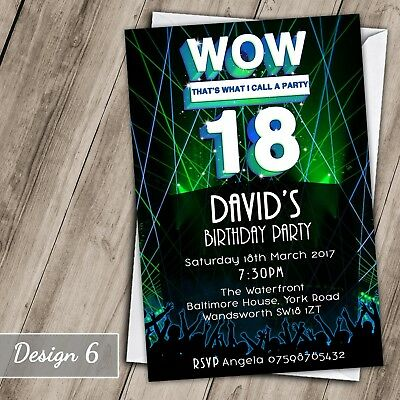 Wow Party 30th 40th 50th 60th Invitations Personalised Birthday Invites 70th 21s