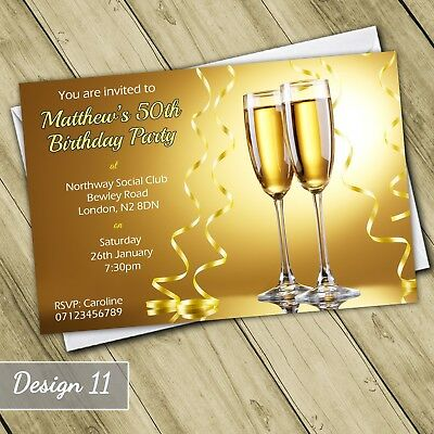 Champagne Gold 30th 40th 50th 60th Invitations Personalised Birthday Invites