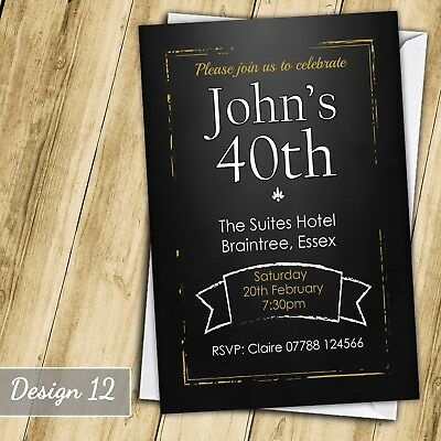 Chalkboard 30th 40th 50th 60th Invitations Personalised Birthday Party Invites