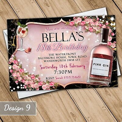 Bow 30th 40th 50th 60th Invitations Personalised Birthday Adult Invites Pink