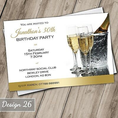 Champagne 30th40th50th60th70th Invitations Personalised Birthday Invites Adult