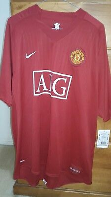 New Nike Manchester United 07/09 Home Red Jersey size: XXL