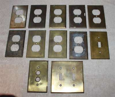 Lot of 12 Vintage Brass Outlet Push Button & Double Switch Plate Covers