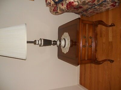 French provincial pair end tables with Stiffel Lamps