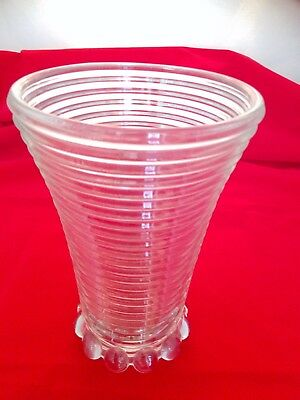 "Large 8"" Ribbed - Manhattan Depression Glass Vase - Anchor Hocking - Ball Footed"