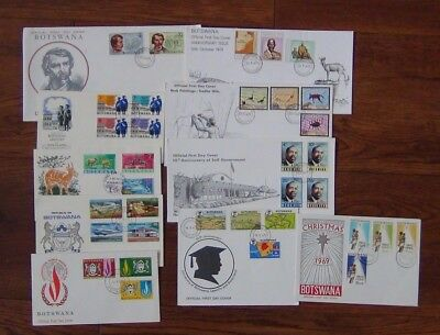 Botswana 10 x FDC 1966 1975 Human Rights University Rock Paintings Independence
