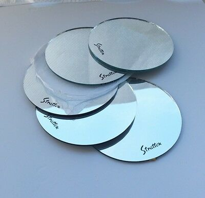 5x rare genuine stratton replacement mirrors for vintage powder compacts glass