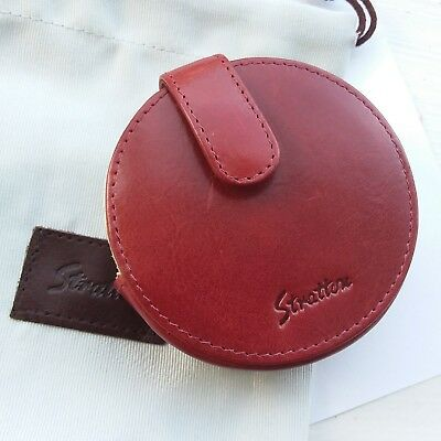 genuine Stratton red leather case for vintage convertible powder compact rare