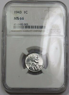 1943-P NGC MS 66 UNC Steel Lincoln Wheat Penny Cent 1c US Coin Item #14698A