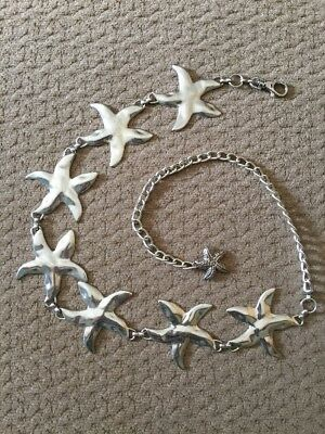 """Awesome Star Fish Silver Tone Metal Chain Link Belt 42"""" Long EUC"""