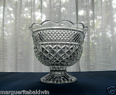 "Anchor Hocking Glass Clear Wexford 8"" Footed Center Piece Bowl Compote"