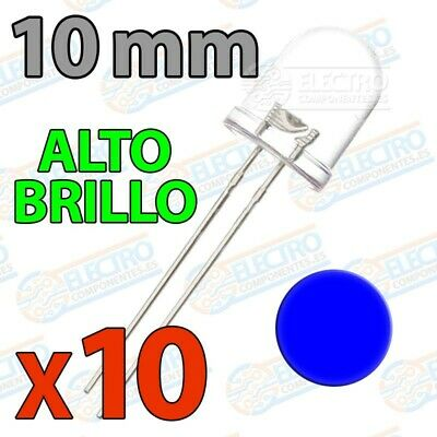 LED Ultra Brillo 10mm 20mA - AZUL - Lote 10 unidades - Arduino Electronica DIY