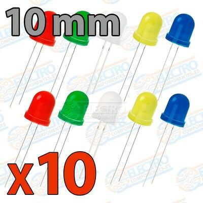 Kit 10 LED Difuso 10mm - 5 colores - Arduino Electronica DIY