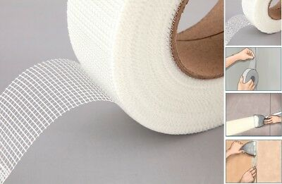 Scrim Tape Self Adhesive Mesh White Plasterboard / Drywall Joint Tape 48Mm X 20M