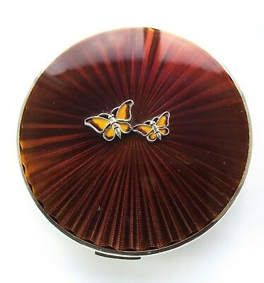 Vintage 1980s Stratton convertible powder compact box pouch sifter butterfly