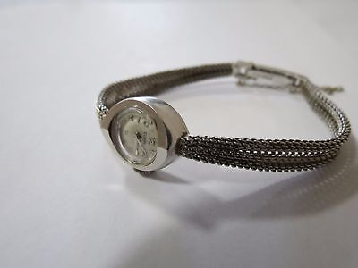 14K 15.1 Gram White Solid Gold Watch and Band ELGIN Women Vintage NON-WORKING