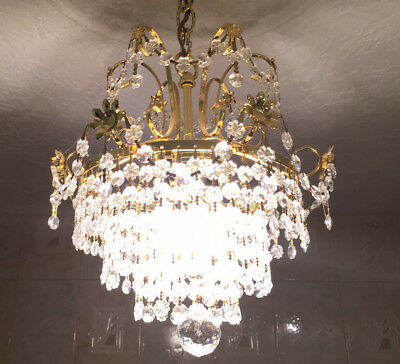 Small Four Light Vintage Gold Crystal Chandelier 18 H x 11 D