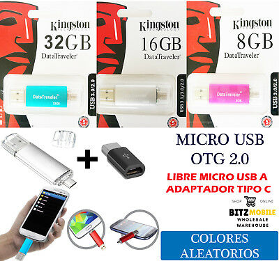 Pendrive Kingston Otg Memoria Micro Usb Dual Para Móvil Tablet Android 8/16/32Gb