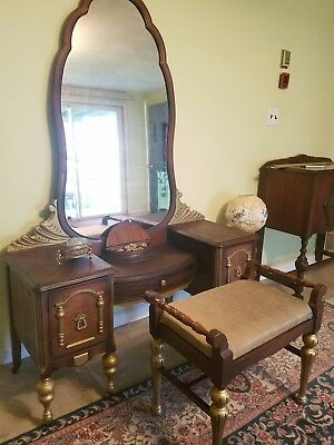 Antique Vanity 1920 French style gold inlay