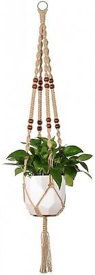 Mkono Macrame Plant Hanger Indoor Outdoor Hanging Planter Basket Jute Rope 48