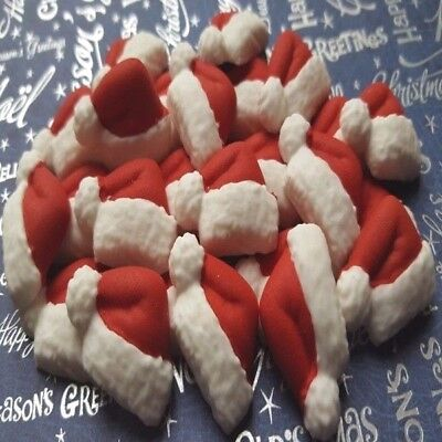 24 Edible fondant Santa Claus hats Christmas cake cupcake toppers decorations