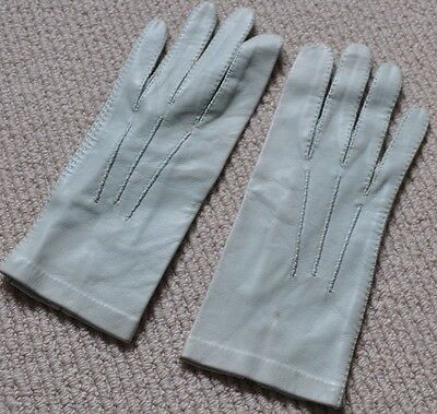 Vintage Retro Mint Coloured Leather Gloves, Hand Stitched, Size 7.5, By Gould's