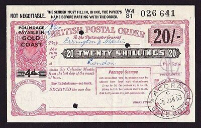 GOLD COAST GREAT BRITAIN 1953 KGVI 20/- red Postal Order superb rarity !