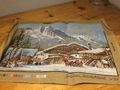 part completed tapestry Canvas Alpine Scene