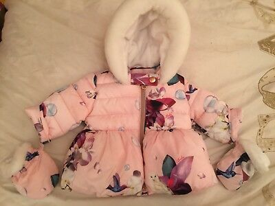 Ted Baker Coat 0-3 Months Baby Girls Winter Immaculate Condition Stunning