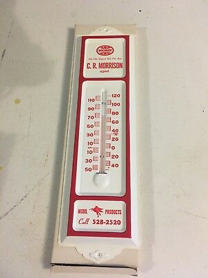 Vintage 1960's NOS Mobil Oil Gasoline Thermometer Sign with Pegasus Nice!!