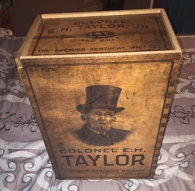 E.H. Taylor Empty Wooden Whiskey Box W/ Amazing Graphics