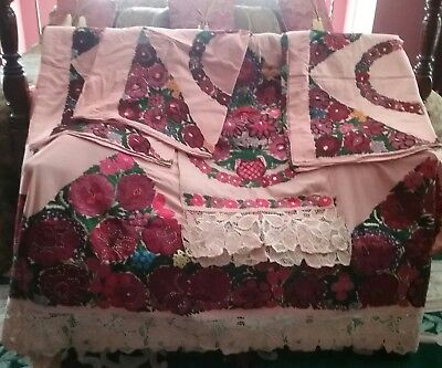 Antique linen pillowcases 3 & Throws Handmade Gorgeous