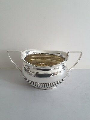 Nice Antique Solid Silver Oval 2- Handle Sugar Bowl.  149Gms.  Sheffield 1895.