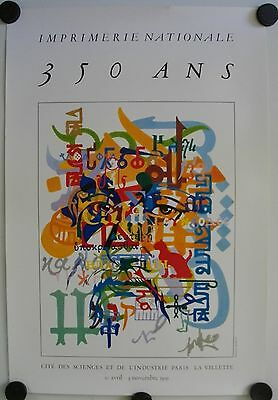 Affiche 350 ans IMPRIMERIE NATIONALE 1991 illustr. MORETTI