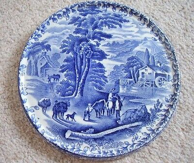 Fenton OLDE FOLEY WARE  England porcelain blue and white plaque-picture