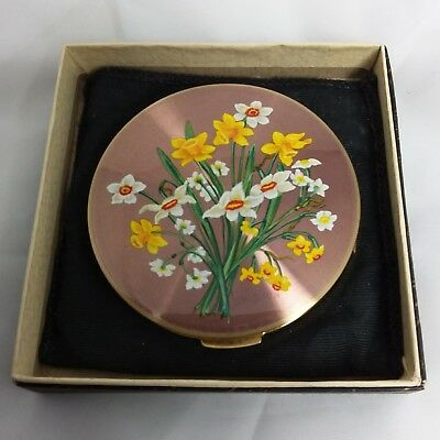Vintage 1960s mint Stratton rondette powder compact box pouch sifter daffodils