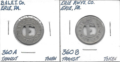 Erie, PA, 360A-B, B&L.E.T.Co. & Erie Rwys Co. One Fare Transportation Tokens